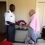 soldier honors veteran