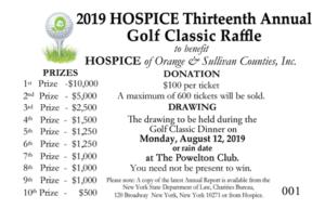 Hospice Annual Golf Classic Raffle 2019
