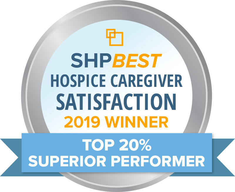 SHP BEST hospice caregiver satisfaction 2019 winnder - top 20% superior performer